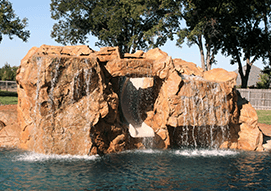 <p>Give your pool some incredible water action with a water feature, such as a grotto, a unique waterslide, or an exciting pool waterfall. </p>